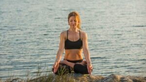 Susan Hounsell, Level 2 Authorised Ashtanga Yoga teacher in Padmasana in Mysore India