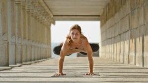 Susan Hounsell, Level 2 Authorised Ashtanga Yoga teacher in Padma Bakasana in Mysore India